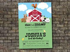 Farm Birthday Invitation Barnyard Birthday by PurplelephantDesigns