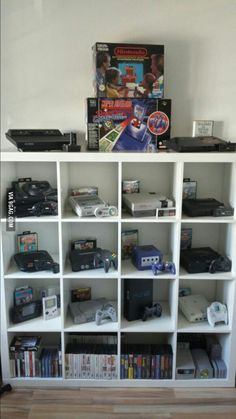 I love my collection of old consoles :) - DIY Kinderzimmer Ideen Video Game Decor, Video Game Rooms, Video Game Storage, Video Game Organization, Video Game Shelf, Deco Gamer, Geek Room, Geek Cave, Console Storage