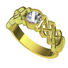 Gold Celtic Moissanite Engagement Ring With Dara Knot Design in 10K 14K 18K or Palladium, Made in Your Size Cr-414