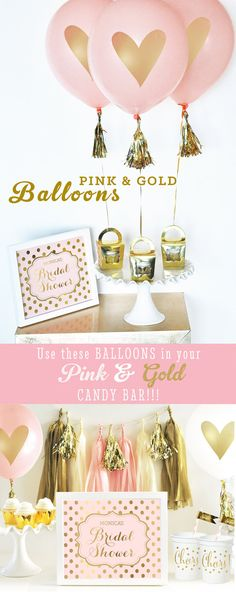 Bridal Shower centerpiece ideas using these Pink and Gold Balloons printed with a metallic gold heart are a unique way to dress up your shower! Use