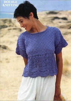 Womens slipover knitting pattern pdf ladies short sleeve top 30-38 ...