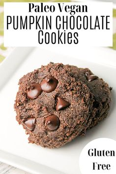 A wholesome grain free cookie made without eggs for an allergy free pumpkin treat! Paleo Recipes, Real Food Recipes, Double Chocolate Chip Cookies, Vegan Pumpkin, Gluten Free Cookies, Treats, Allergy Free, Grain Free, Desserts