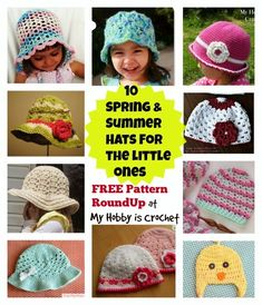 Spring- Summer-Fall Hats For Babies& Children- Free Crochet Pattern Round Up on My Hobby is Crochet Blog
