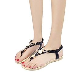 Fordbox Comfortable Women Casual Clip Toe Sandals Bohemia Sweet Beaded Sandals Beach Shoes 95 BM US Black ** For more information, visit image link.
