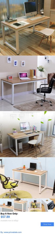 furniture: Modern Wooden And Metal Computer Pc Home Office Desk / Study Table Bedroom New BUY IT NOW ONLY: $57.89 #priceabatefurniture OR #priceabate