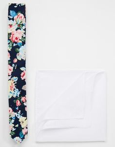 ASOS Slim Floral Tie And White Pocket Square Pack