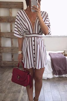 Deep V Neck Stripe Mini Dress Details  Material  Lycra Style  Daily Sleeve  Style da9cec355e