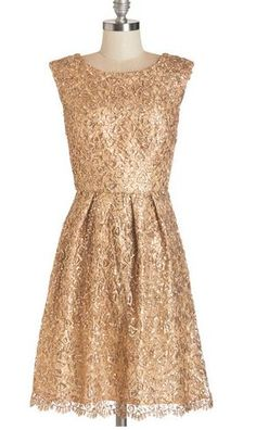 Modokurosu (ModCloth) Vestido Fun One Like You Dress in Gold 1