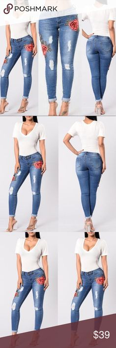 🆕List! Rose Embroidered Destroyed Jeans! NEW! Embroidered roses that actually pop to life! Roses are layers of embroidery on fabric. Size XL measurements: waist 15 inches across, rise 10 inches, inseam 30 inches. Polyester spandex. New from package. Boutique Jeans Skinny
