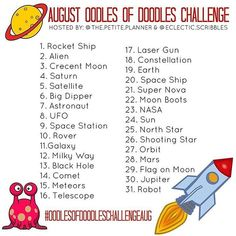 Space won out against back to school and I am really excited about these prompts! Here is the #oodlesofdoodleschallenge for August. . . To…