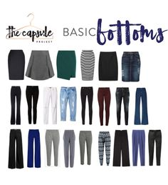 All the basic bottoms you need according to the Lucky Manual to Style. More than most people need, but good guidance.