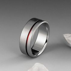 Red String of Fate Titanium Ring with Off Center Red Stripe, Mens or Womens Wedding Engagement or Promise Band, Simple Handmade Custom Ring Titanium Jewelry, Titanium Wedding Rings, Titanium Rings, Red String Of Fate, Promise Band, Red Band, Engraved Rings, Ring Verlobung, Wedding Men
