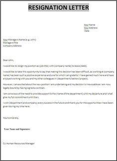 18 Photos Of Template Of Resignation Letter In Word  Resignation Letter Templates