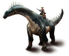 Play for free at DinoStorm.com -- Dino Storm -- Key Artwork 2 --- Cowboys, Dinosaurs, and laser guns!