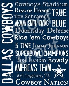 Dallas Cowboys Subway Art Print 16x20 $25.00