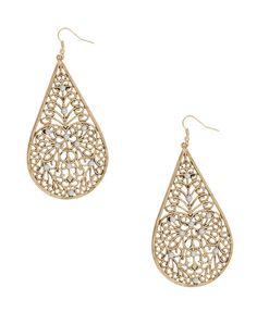Filigree Pearlescent Drop Earrings Forever 21 $3.80