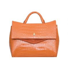 AALTO bag by Marja Kurki Orange Leather, Crocodile, Leather Bag, Shoulder Strap, Handbags, Pocket, Pattern, Totes, Crocodiles