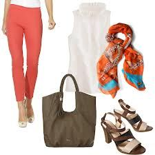 Remember: Print scarf to bring out the color of colored pants/skirt, with ubiquitous white top and heels