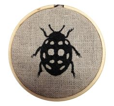 "Ladybug I, 3"" hoop.  I want a whole set of Michelle Archbold's charming bug & plant life embroideries on linen."
