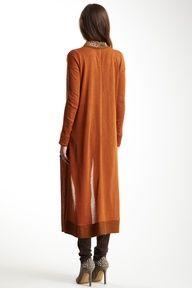 Isabel Lu    gorgeous Rust  Full Length Cardigan
