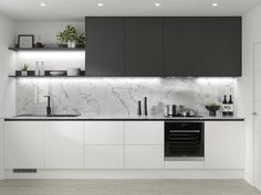Discover the new handleless cabinets from Howdens. Create an on-trend linear design. Pre-cut to save time on installation. Available from local stock. Kitchen Room Design, Kitchen Cabinet Design, Modern Kitchen Design, Kitchen Layout, Interior Design Kitchen, White Kitchen Interior, Modern Grey Kitchen, Modern Farmhouse, Small Modern Kitchens