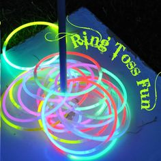 Use glow necklaces and glow bracelets for a few rounds of night time ring toss.  Nighttime camp activities anyone...