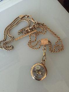 Heavy GF Watch Chain Necklace w/ Gemstone Locket by DayOldToyStore