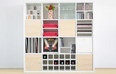 ikea expedit regal schubladen aufbewahrung kallax Ikea Expedit Shelf, Ikea Regal Expedit, New Swedish Design, Swedish Style, Kallax, System Furniture, Storage Drawers, Room Organization, Baby Room