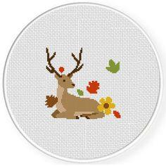 deer autumn cross stitch chart - Mollie Makes 32 cross stitch charts. #crosstitchpattern #autumncrossstitch #stitching #halloweencrossstitch