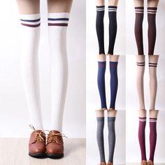 Japanese students stripe knee-high socks