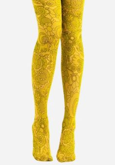 Grunge Look, 90s Grunge, Grunge Style, Grunge Outfits, Soft Grunge, Yellow Tights, Funky Tights, Patterned Tights, Floral Tights
