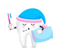 Cute cartoon tooth character with toothbrush and pillow. Time to sleep. Dental care concept. Illustration isolated on white background.