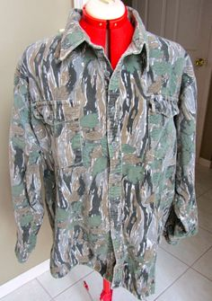 Vintage Camo Camouflage 1960s 1970s Cotton Flannel Shirt LS Ideal Brand Mossy Oak XL