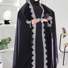 Faimatou Abaya - Black Butterfly Abaya Gold or Silver Embroidery Muslim Dress Code, Butterfly Abaya, Orientation Outfit, Muslim Wedding Dresses, Dress Wedding, Clothes For Sale, Clothes For Women, Hijab Dress, Dress Muslimah
