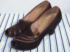 Vintage 30s 40s Brown Peeptoe Heels 5.5 6AA Pumps Ribbon by pinupdresses on Etsy https://www.etsy.com/listing/242812017/vintage-30s-40s-brown-peeptoe-heels-55
