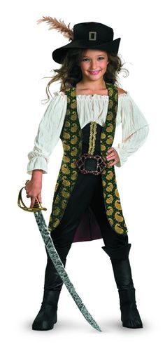 All of the Pirates of the Caribbean movies have been a great hit! Now your child can dress up as the fearless Angelica with this officially licensed, deluxe costume set featuring a corset and shirt wi