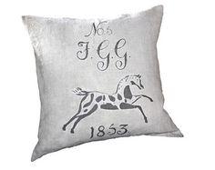 1853 Equestrian European Grain Sack Cushion cover