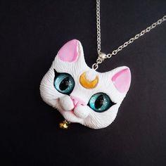 Artemis - Sailor Moon inspired Cat Pendant OOAK polymer clay cat face pendant by FleurDeLapin