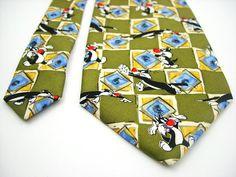 Looney tunes tie Sylvester the cat tie vintage necktie silk