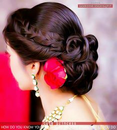 Indian Bridal Hairstyles, Fancy Hairstyles, Wedding Hairstyles, Bridal Bun, Bridal Hairdo, Indian Wedding Makeup, Bridal Makeup, Attractive Girls, Girls Dp