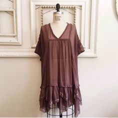 Free People Mauve Oversized Tunic Chiffon tunic with beading and rushing details. Worn once. Retail $169. Long enough to be worn as a dress on me (I'm 5'4), goes perfect with leggings. Size xs. Free People Tops Tunics