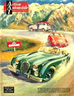 Jaguar XK 150 Coupe Des Alpes Esso 1958 - www.MadMenArt.com | Vintage Cars Advertisement. Features over 1200 of the finest vintage cars until 1970. Status symbol, pride and sense of freedom. #VintageCars #Vintage #Ads #VintageAds