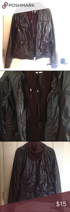 Brown jacket with removable hoodie brand new! Brown jacket with removable hoodie, never worn. The material is a leather look, but is pleather. The size on the tag is xl but it is narrow in the shoulders. It's more of a petite fit.  Very cute with removable hoodie panel. Jackets & Coats Utility Jackets