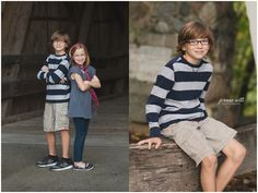 Photos at Potters Bridge Park, brother sister photo ideas; sibling photography inspiration