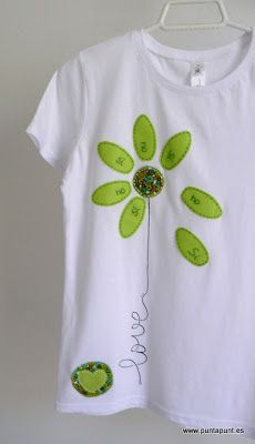 Kinda cute idea for daisy shirt. Sewing Tutorials, Sewing Crafts, Sewing Projects, Sewing Patterns, Shirt Refashion, T Shirt Diy, Paint Shirts, Sewing Appliques, Inspiration Mode