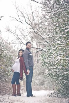 Maternity session in the snow.                                                                                                                                                                                 More