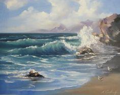 Seascape painting Ocean waves OROGINAL oil by NadiaGurkovaArt
