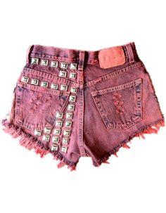 Vintage, cutoff, shredded,  destroyed,  grunge, omen eye, short, shorts, studded, distressed, denim, high waisted, cut off, red