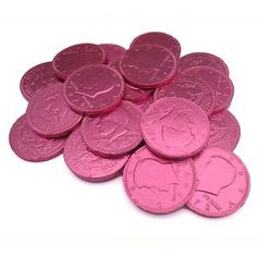 Fort Knox Milk Chocolate 1.5-inch Coins Pink Foil