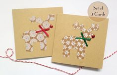 Handmade rustic Christmas card set with sparkly red nose reindeer www.etsy.com/uk/listing/252378183/set-of-3-christmas-cards-handmade
